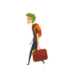 young man with green hair walking with a suitcase vector image