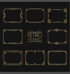 gold retro frames style of 1920s collection of vector image vector image