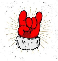 santa claus hand with rock and roll sign design vector image