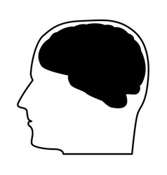 head with the brain black icon vector image vector image