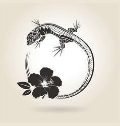 lizard and hibiscus vector image vector image