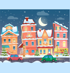 xmas card with a decorated snowy old city vector image