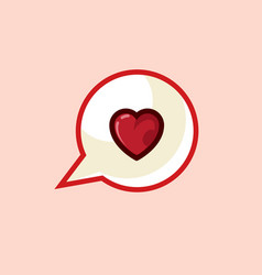 icon in style line work of heart message on vector image
