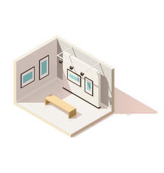isometric low poly museum interior vector image vector image