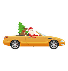 santa claus drive on cute luxury car with reindeer vector image