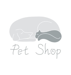 Cat and dog are sleeping sign for pet shop logo vector image vector image