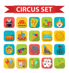 circus icon set flat cartoon style set isolated vector image vector image