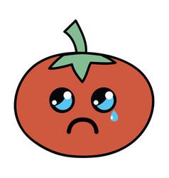 Kawaii cute crying tomato vegetable vector