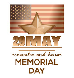memorial day 2017 29 may remember and honor vector image vector image