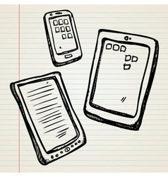 Sketches of a e-book tablet and smartphone vector image vector image