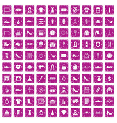 100 stylist icons set grunge pink vector
