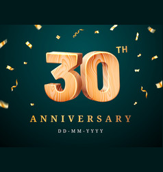 30th anniversary sign with falling confetti vector