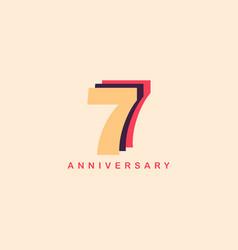 7 years anniversary template design vector