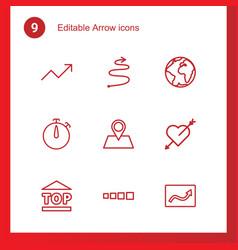 9 arrow icons vector