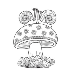 adult doodle coloring book page snails on mushroom vector image