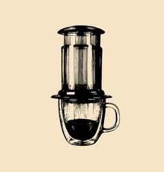alternative coffeemaker hand vector image