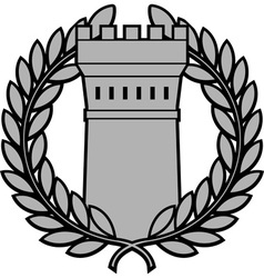 Ancient tower with laurel wreath vector