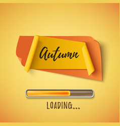 Autumn abstract paper banner with loading bar vector