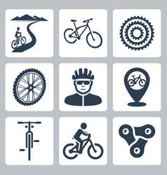 bicycling cycling icons set vector image