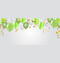 Birthday card with green balloons happy birthday vector