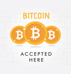 bitcoin accepted vector image