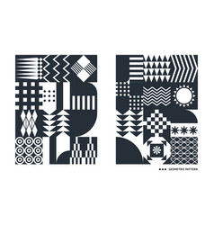 black and white geometric patterns vector image