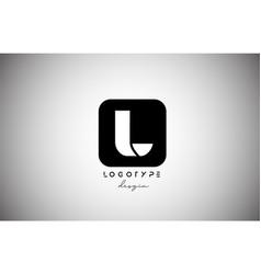 black white l square letter logo alphabet icon vector image