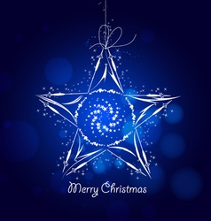 Blue star christmas background vector