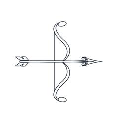 bow arrow ornate decorative element line vector image
