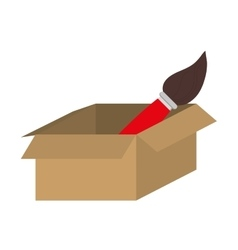 brown box with paint brush icon vector image