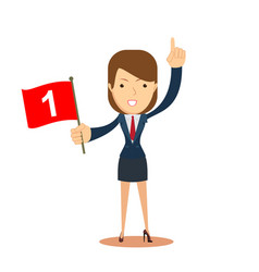 Businesswoman with number one flag vector