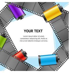 camera film roll cartridge photo retro banner card vector image