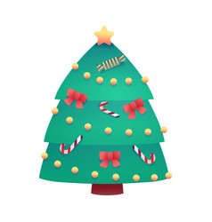 cartoon christmas tree for xmas design vector image