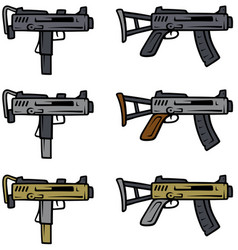 cartoon submachine guns weapon icons vector image