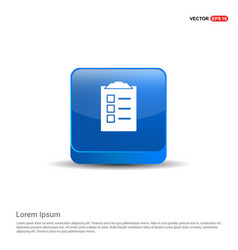 check list icon - 3d blue button vector image