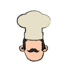 Chef faceless mustache hat head vector