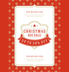 christmas sale flyer or poster design discount vector image