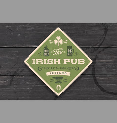 Coaster for irish pub vintage drawing for bar vector