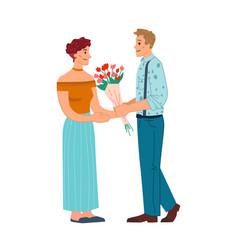 couple in love men presents woman flower bouquet vector image