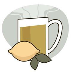 cup herbal tea with lemon healthy drink vector image