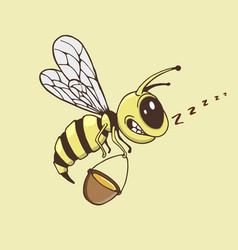 cute bee collects a honey vector image