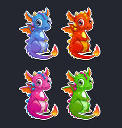 Cute cartoon little dragon vector