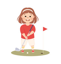 cute girl playing golf kid doing sports active vector image