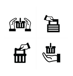 delivery shopping icon set vector image