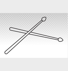 Drumsticks or drum stick flat icon for snare drum vector
