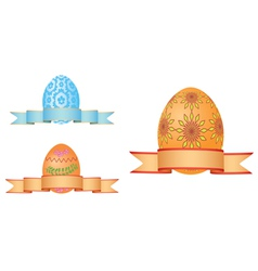 Easter eggs with ribbons vector