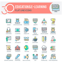 education and e-learning icons vector image