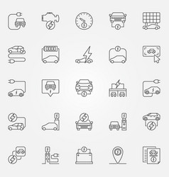 electric car outline icons vector image