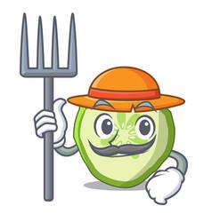 farmer fresh slice cucumber on character cartoon vector image