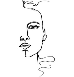 fashion feminine full-face in half vector image